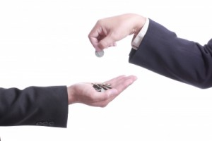 Businessman Give Coin To Another People
